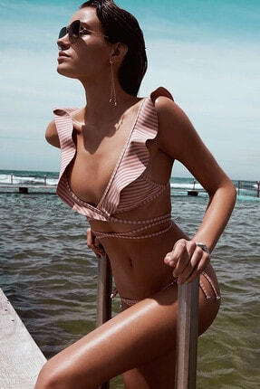 Angelsin Kadın Pembe Fırfırlı Çizgili Bikini Takım 0
