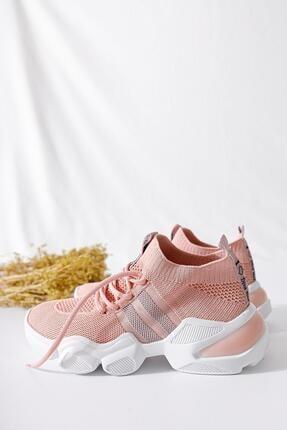 Limoya Kadın Pudra Triko Strech Sneaker 1