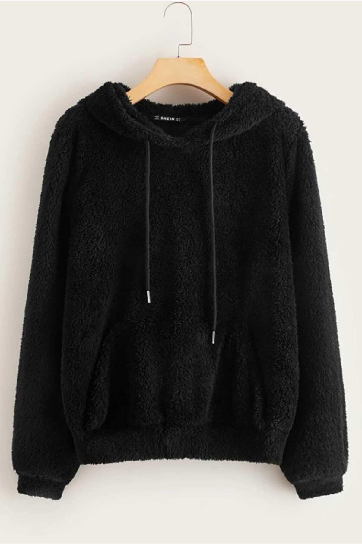 Mad Girls Siyah Peluş Kapüşonlu Sweatshirt Mg818