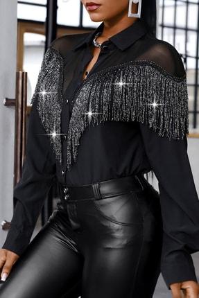 BLACK&GRACE Kadın Siyah Püsküllü Selanik Kumaş Gömlek 0