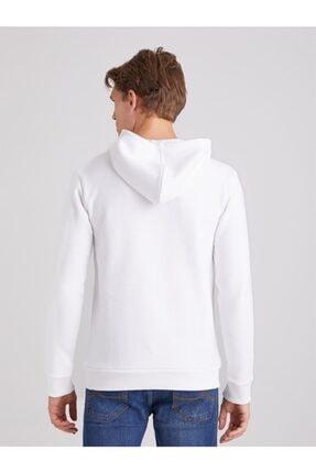 Dufy Beyaz Içi Polarlı Kapüşonlu Erkek Sweatshırt - Modern Fıt 4