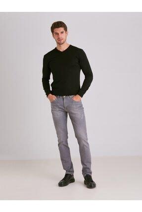 Dufy Erkek Gri Düz  Slim Fit Kot Pantolon - 0