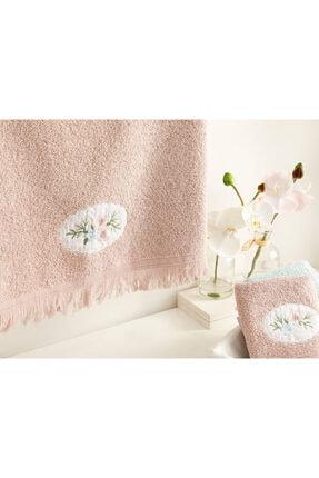 English Home Fancy Flowers Nakışlı Yüz Havlusu 50X76 Cm Nude 1