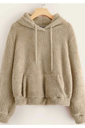 Madmext Kadın Camel Peluş Kapüşonlu Sweatshirt Mg818 0