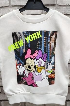 OSADRA Kız Çocuk Beyaz Minnie Ve Daisy Sweat 1