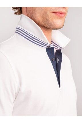 Dufy Beyaz Detaylı Pike Pamuklu Polo Yaka Erkek T-shırt - Slım Fıt 1