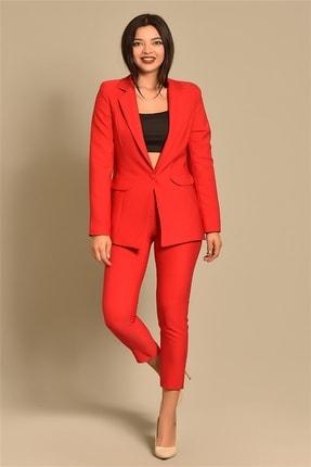 Modakapimda Kadın Kırmızı Ceket Pantolon Takım 0