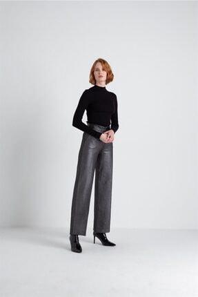 FRACOMINA Parlak Görünümlü, Yüksek Bel Siyah Pantolon 1