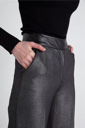 FRACOMINA Parlak Görünümlü, Yüksek Bel Siyah Pantolon 2