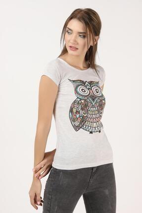 Tena Moda Kadın Kar Melanj Baykuş Baskılı Tişört 1