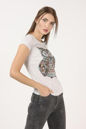 Tena Moda Kadın Kar Melanj Baykuş Baskılı Tişört 2