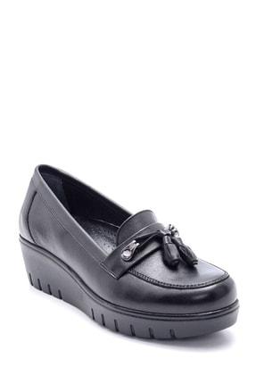 Derimod Kadın Deri Püskül Detaylı Dolgu Topuk Ayakkabı 1