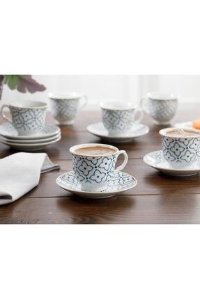 English Home Belize Porselen 6'lı Kahve Fincan Takımı 90 ml Mavi - Kırık Beyaz 2