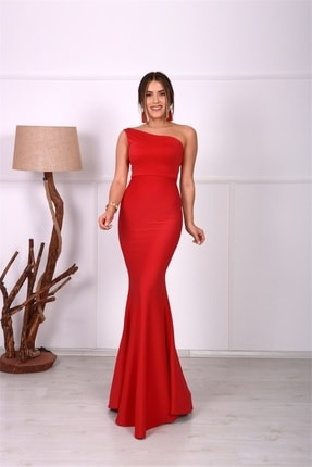 giyimmasalı Tek Kol Balık Abiye Elbise - Kırmızı 1
