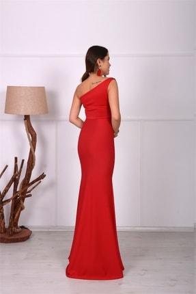 giyimmasalı Tek Kol Balık Abiye Elbise - Kırmızı 4