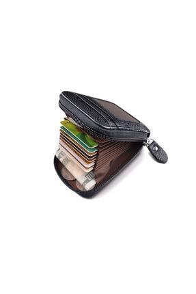 Kemer Dünyası Mbl Unisex 11 Bölmeli Siyah Fermuarlı Deri Kredi Kartlık 2