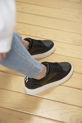 Straswans Papel Bayan Deri Spor Ayakkabı Siyah 2