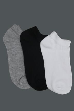 Tena Moda Kadın Gri-siyah-beyaz 3'lü Basic Patik Çorap 0