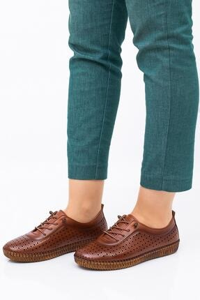 Hoba Kadın Kahverengi Delikli Bağcıklı Hakiki Deri Ayakkabı 2