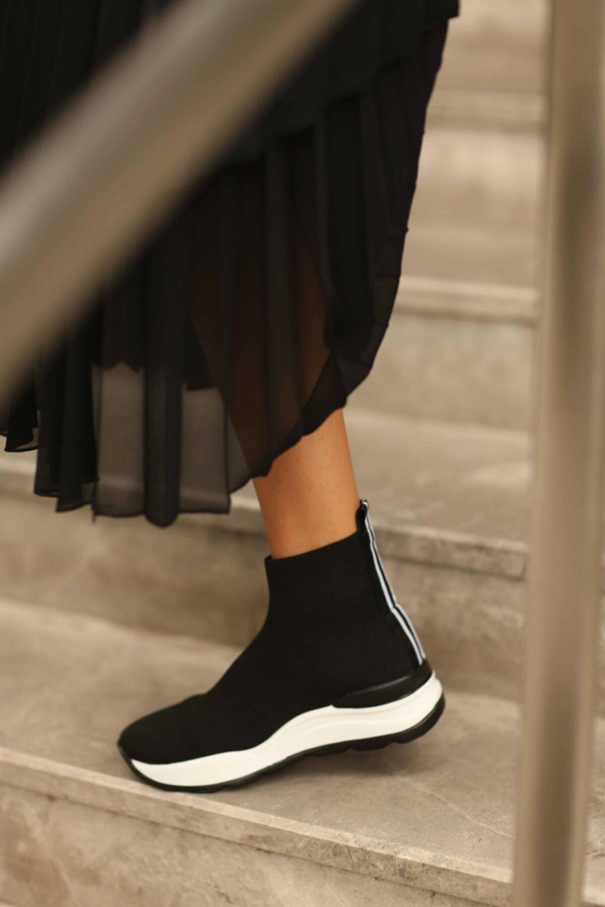 Cömert Ayakkabı Kadın Siyah Daunte Triko Spor Ayakkabı