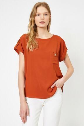 Koton Kadın Tarçın Rengi Kisa Kollu Cep Detayli Bluz 0