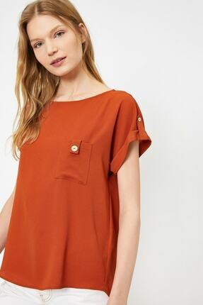 Koton Kadın Tarçın Rengi Kisa Kollu Cep Detayli Bluz 1