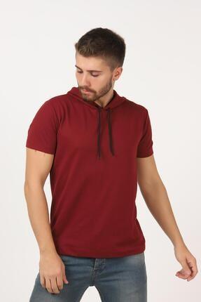 Tena Moda Erkek Bordo Kısa Kollu Kapşonlu Basic Tişört 0
