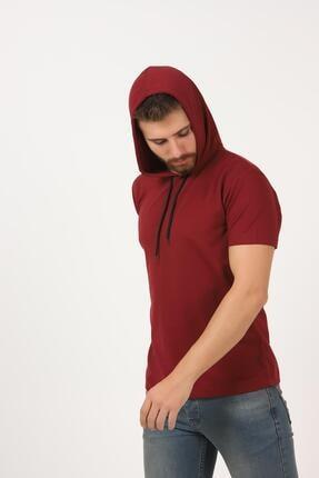 Tena Moda Erkek Bordo Kısa Kollu Kapşonlu Basic Tişört 1