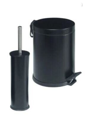 Berta Hijyen Berta 2'li Siyah Banyo Seti Çöp Kovası Tuvalet Fırçası 2