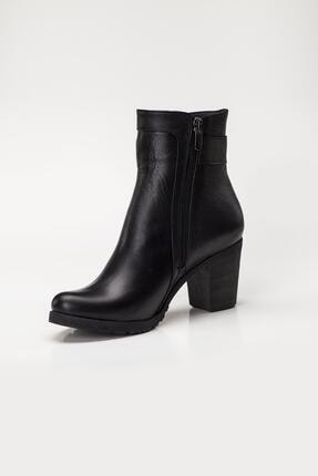 Deripabuc Hakiki Deri Siyah Kadın Topuklu Deri Bot Trc-3763 3