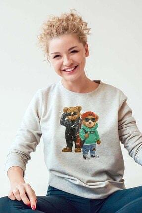 Burlu Kanka Cool Ayılar Üç Iplik Sweatshirt 1