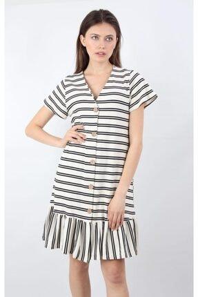 ALEXANDERGARDI Önü Düğmeli, Şeritli Elbise, Beyaz (B20-147607) 0