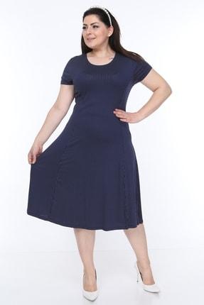 SENTEX Kısa Kollu Puantiyeli Kuplu Belden Oturmalı Bayan Elbisesi 2