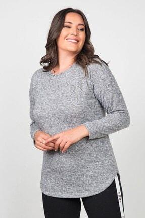 Womenice Kadın Gri Kurdela Taşlı Büyük Beden Bluz 0