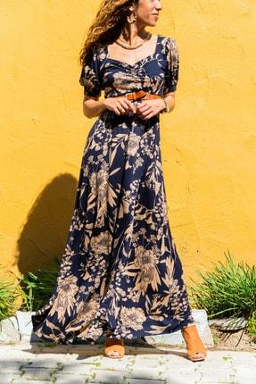 Güneşkızı Kadın Lacivert Öpücük Yaka Karpuz Kol Kiloş Uzun Elbise Gk-td403 0