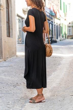 Güneşkızı Kadın Siyah Yanı Cepli Asimetrik Salaş Elbise Gk-td412 1