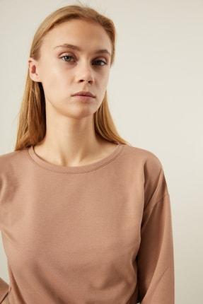 Tena Moda Kadın Bisküvi Beli Lastikli Crop Sweatshirt 1