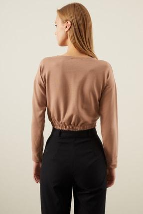Tena Moda Kadın Bisküvi Beli Lastikli Crop Sweatshirt 4
