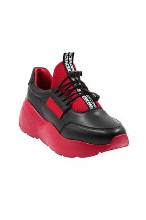 Abbondare Hakiki Deri Siyah-kırmızı Kadın Spor Ayakkabı-sneaker 0