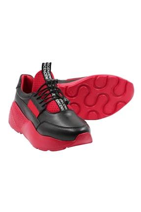 Abbondare Hakiki Deri Siyah-kırmızı Kadın Spor Ayakkabı-sneaker 3