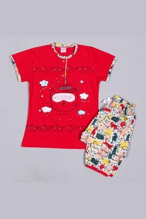 تصویر از 1338 Kırmızı Penye Göz Bantlı Kedi Baskılı Nakışlı Kaprili Kısa Kollu Çocuk Pijama Takımı