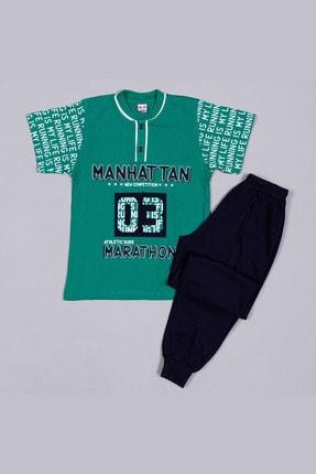 Picture of 2375 Yeşil Penye Manhattan Baskılı Paçası Manşetli Kısa Kollu Garson Boy Pijama Takımı