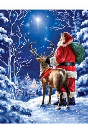Marcel Kristal Tablo Noel Baba Ve Geyiği Kartpostal Elmas Mozaik Tablo 41x53cm 0