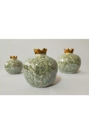 YEDİTEPE ÇİNİ Seramik Metalik Yaldızlı Ebruli 3 Lü Nar Seti-yeşil-el Işi-dekoratif-hediyelik 3