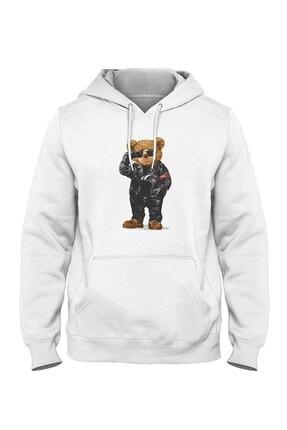 Burlu Motoksikletli Cool Ayı Hoodie Kapişonlu Sweatshirt 0