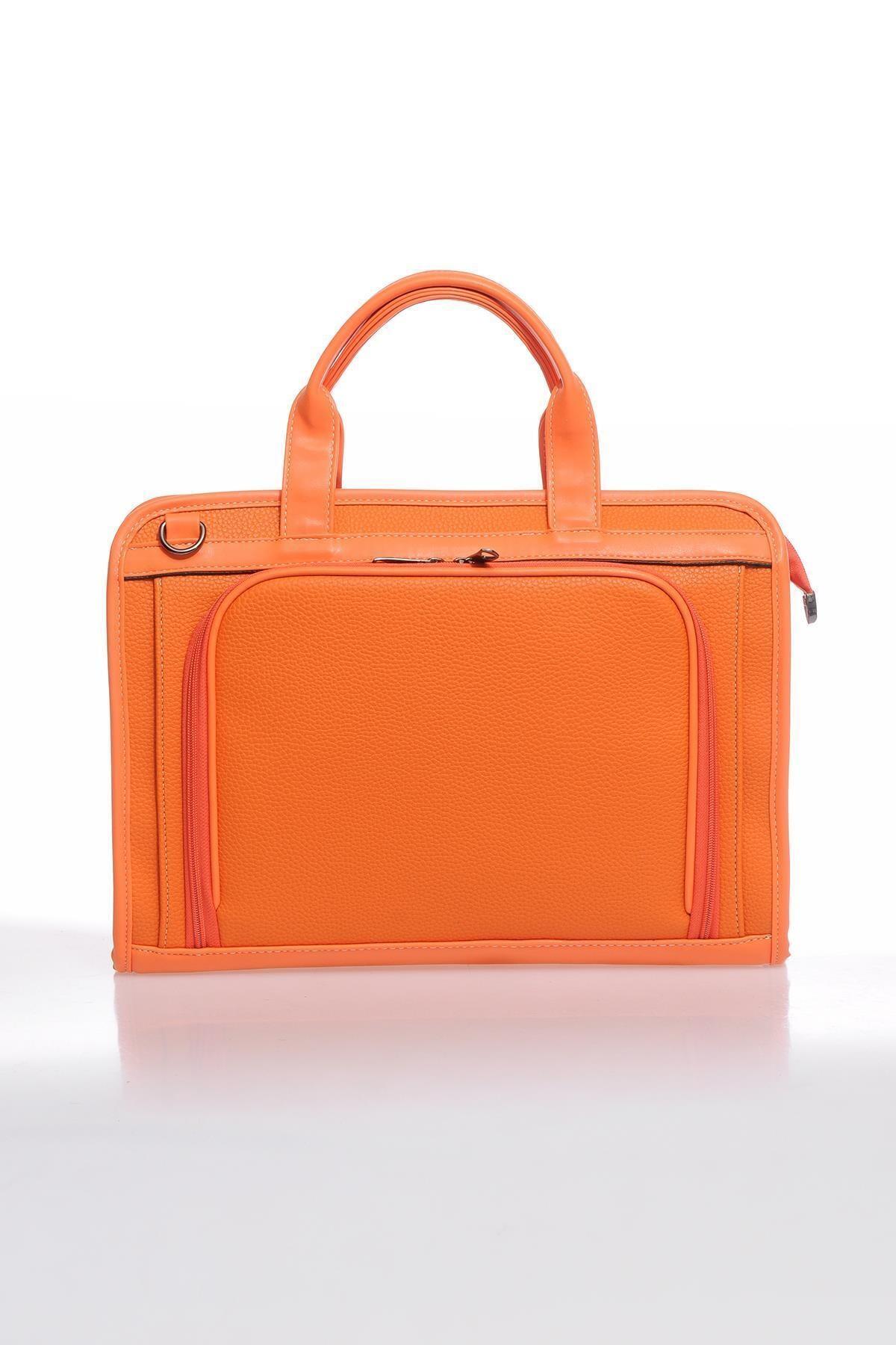 Luxury Sg071219 Belin/turuncu Unisex Evrak Çantası
