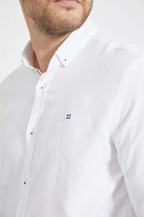 Avva Erkek Beyaz Armürlü Düğmeli Yaka Slim Fit Gömlek A02y2024 1