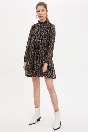 Defacto Etek Ucu Volanlı Oversize Fit Elbise 0