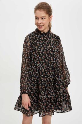 Defacto Etek Ucu Volanlı Oversize Fit Elbise 4