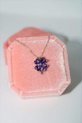 AME SOEUR 925 Ayar Gümüş Purple Four Leaf Clover Kolye 1